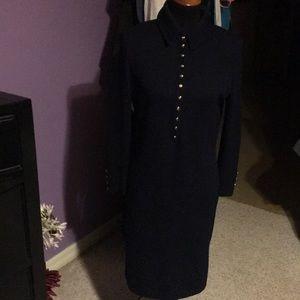 St John Long sleeve blue knit dress. S-6